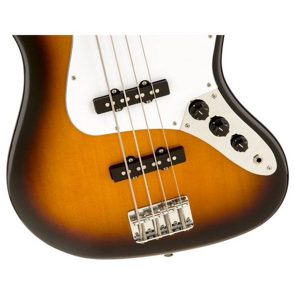 Squier Affinity Jazz Bass, Brown Sunburst Closeup