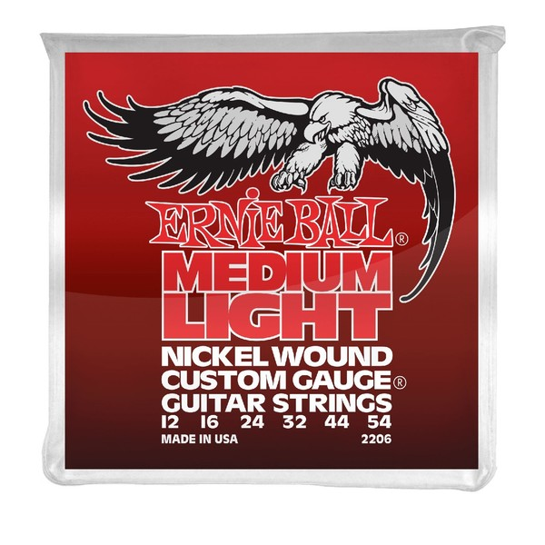 Ernie Ball Medium/Light Nickel Wound Set w/ Wound G String, 12-54