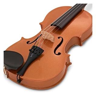 Stentor Harlequin Violin Outfit, Orange, 3/4 close