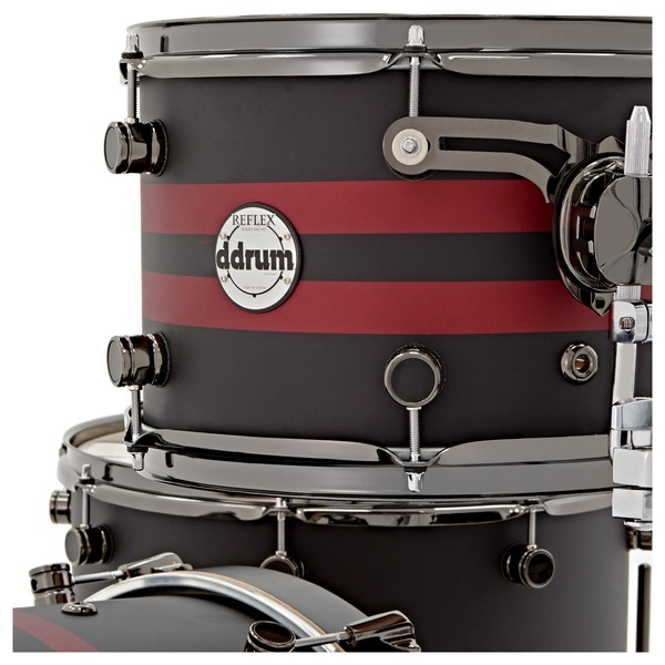 """DDrum Reflex Rally Sport 4pc 22"""" Shell Pack, Black with Red Stripes logo"""