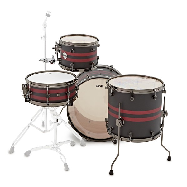 """DDrum Reflex Rally Sport 4pc 22"""" Shell Pack, Black with Red Stripes back"""