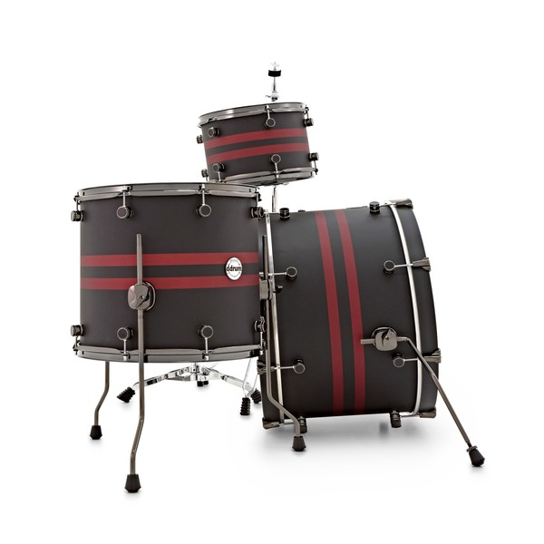 """DDrum Reflex Rally Sport 4pc 22"""" Shell Pack, Black with Red Stripes side"""