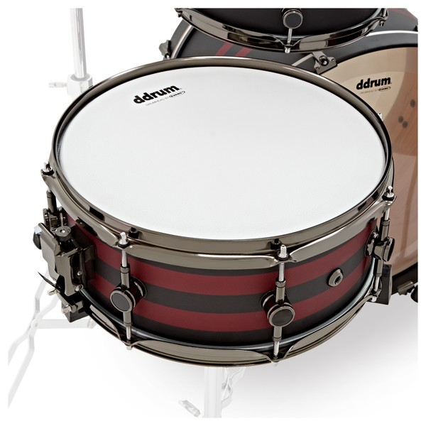 """DDrum Reflex Rally Sport 4pc 22"""" Shell Pack, Black with Red Stripes snare"""