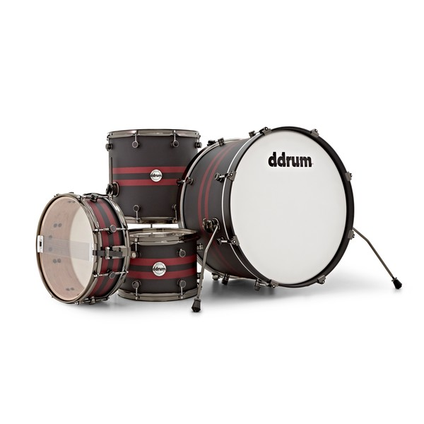 """DDrum Reflex Rally Sport 4pc 22"""" Shell Pack, Black with Red Stripes shell"""