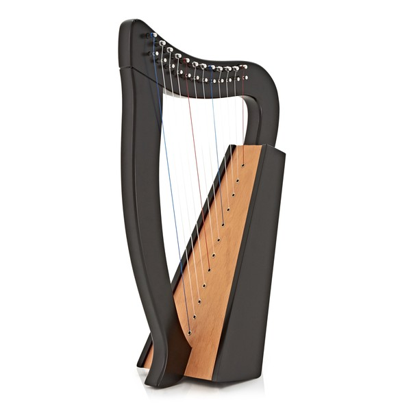 Deluxe 12 String Harp by Gear4music, Black main