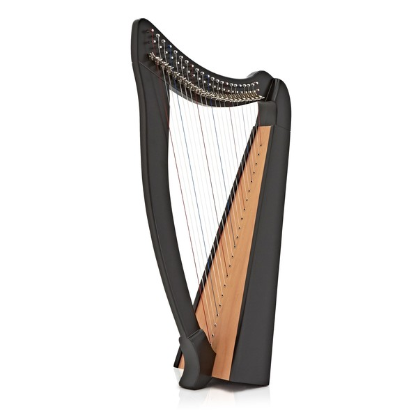 Deluxe 22 String Harp with Levers by Gear4music, Black main