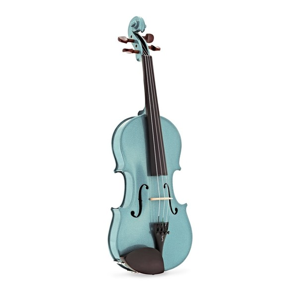 Stentor Harlequin Violin Outfit, Light Blue, 3/4, angle