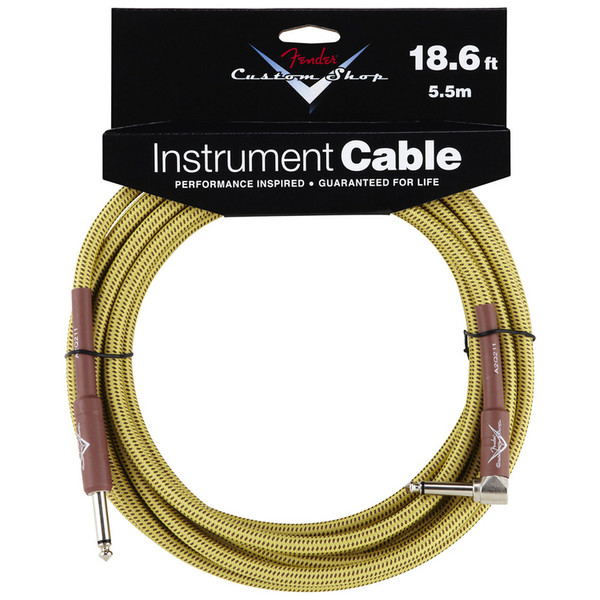 Fender Custom Shop 5.5m Angled Instrument Cable, Tweed