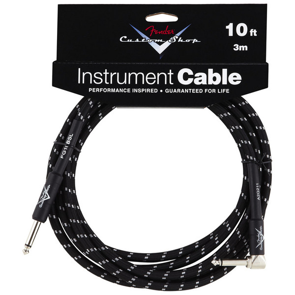 Fender Custom Shop 3m Angled Instrument Cable, Black Tweed
