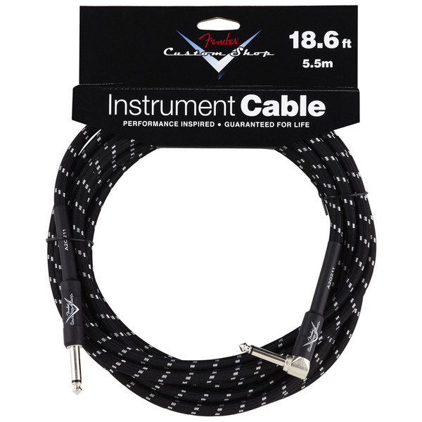 Fender Custom Shop 5.5m Angled Instrument Cable, Black Tweed