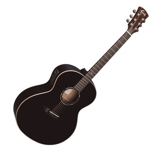 Faith Eclipse Neptune Baby Jumbo Electro Acoustic, Black Gloss Front View