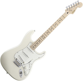 Squier by Fender Deluxe Stratocaster Electric Guitar, MN, Pearl White