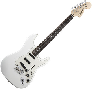 Squier by Fender Deluxe Hot Rails Strat Guitar, Olympic White