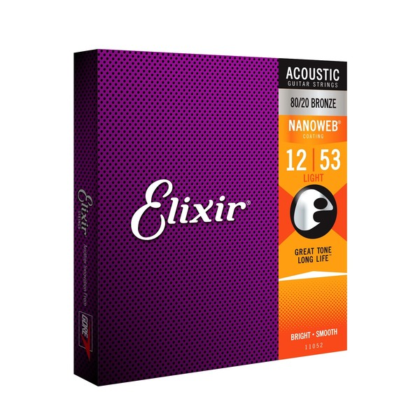 Elixir E11052 Nanoweb Light Acoustic Guitar Strings, 12-53