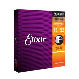 Elixir E16027 Nanoweb Custom Light Phosphor Bronze Strings, 11-52