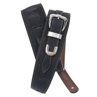 Planet Waves Belt Buckle Leather Guitar Strap, Black