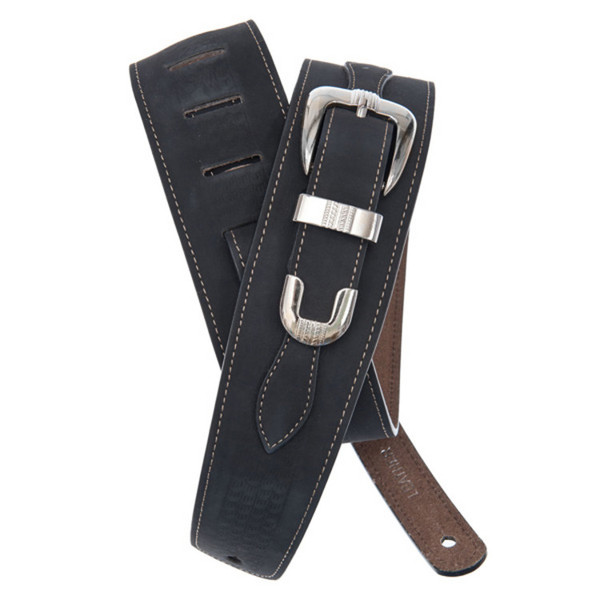 D'Addario Belt Buckle Leather Guitar Strap, Black
