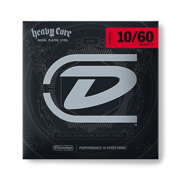 Dunlop Electric Guitar Strings 'Heavy Core' 7 String Set, 10-60
