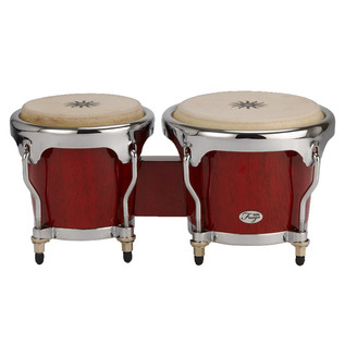 Natal Fuego Natural Wood Bongos, Chrome Hardware, Red Gloss