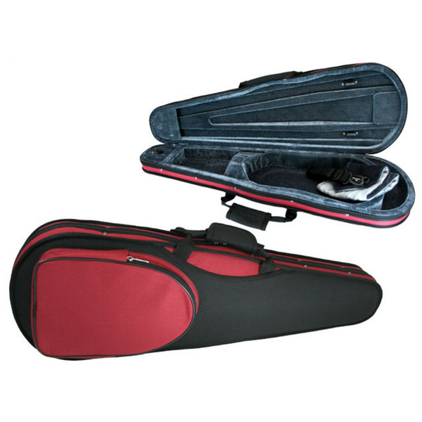 GSJ Styro Shaped Violin Case 4/4 Black/Red