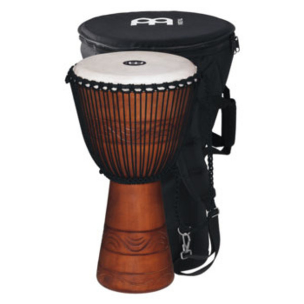 "Meinl ADJ2-L+BAG 12"" Original African Rope Tuned Wood Djembe, Brown"