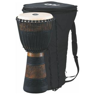 "Meinl ADJ3-L+BAG 12"" Original African Rope Tuned Wood Djembe, Brn/Blk"