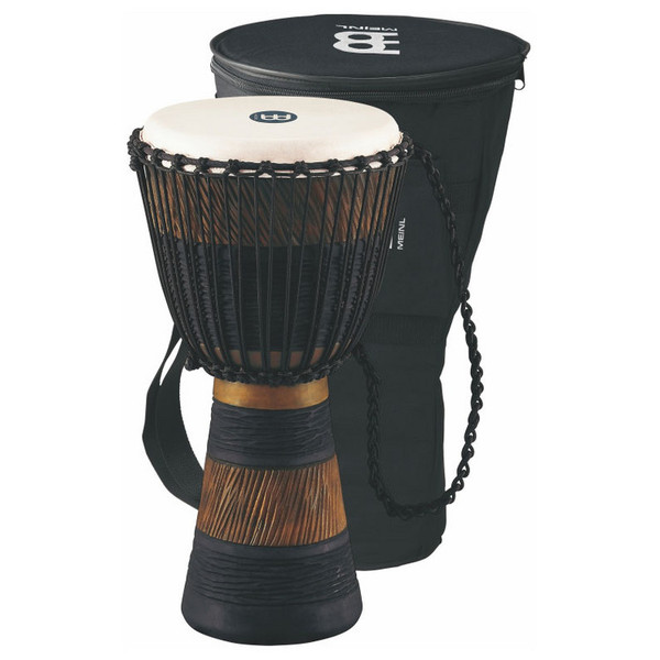 "Meinl ADJ3-M+BAG 10"" Original African Rope Tuned Wood Djembe, Brn/Blk"
