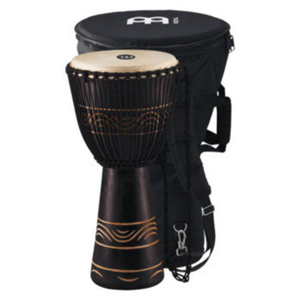"Meinl ADJ4-L+BAG 12"" Original African Rope Tuned Wood Djembe, Black"