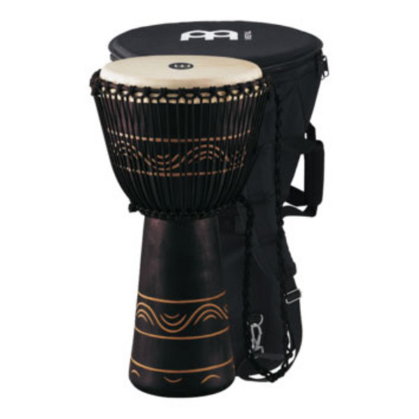 "Meinl 13"" Original African Rope Tuned Wood Djembe, Black"