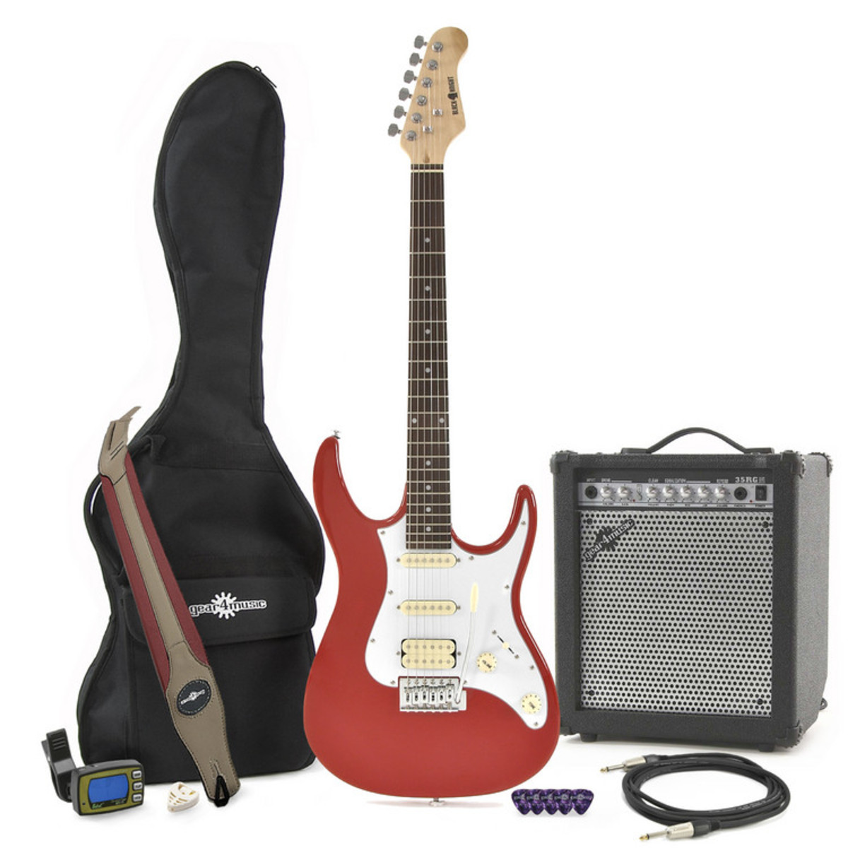 Black Knight Cst 20 Electric Guitar Red 35w Amp Pack At