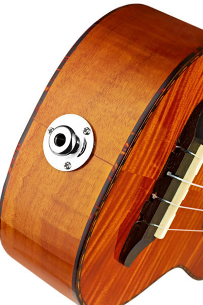 Ortega RUE14FMH Electro-Acoustic Baritone Ukulele, Flamed Mahogany - end