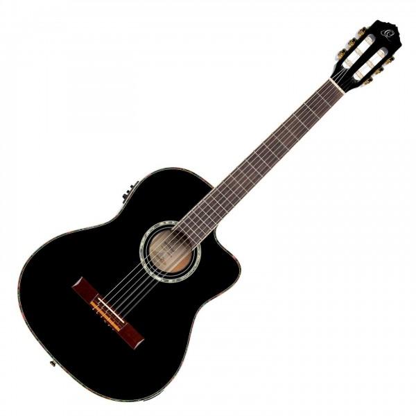 Ortega RCE145BK Electro Classical Guitar, Gloss Black