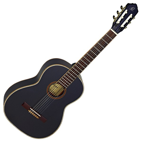 Ortega R221BK Classical Guitar, Black High Gloss Finish - Front View