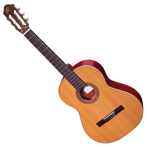 Ortega R200L Left Handed Classical Guitar, Solid Cedar Top - Front View