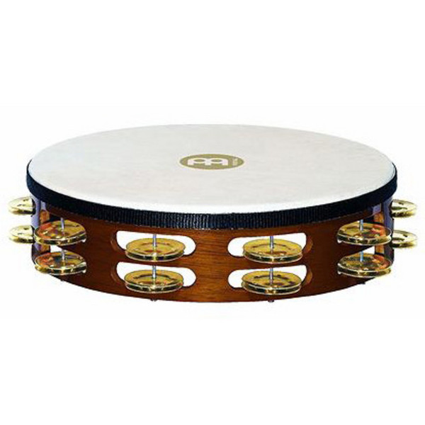 Meinl TAH2B-AB Double Row Headed Wood Tambourines - Brass Jingles