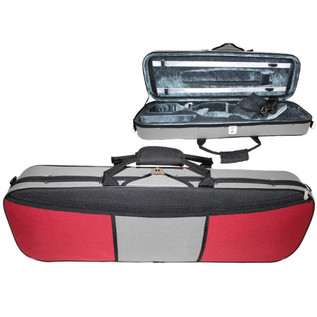 GSJ Two Tone Oblong Violin Case 4/4 Red/Grey