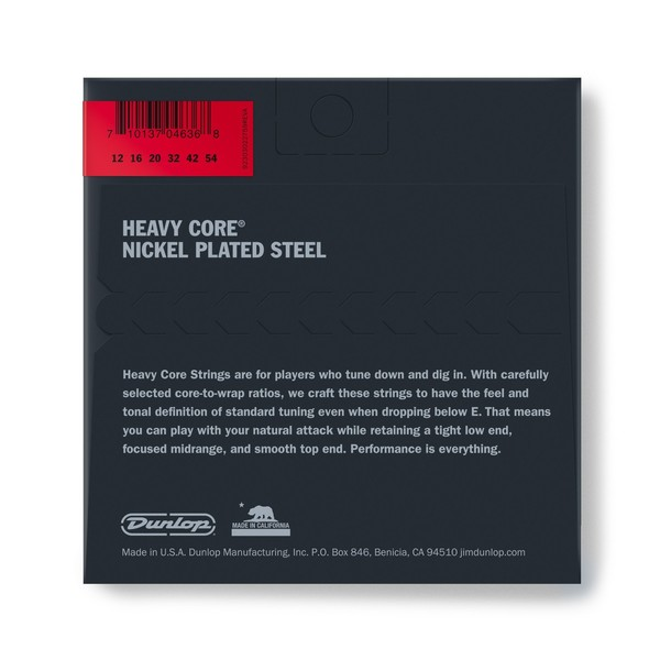 Dunlop Heavy Core Electric Guitar Strings, Heaviest 12-54 - back