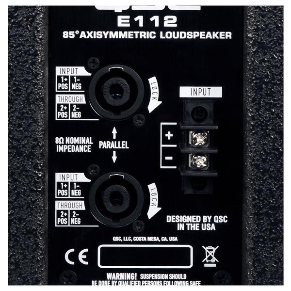 QSC E Series E112 12'' Passive PA Speaker, Rear Connectivity