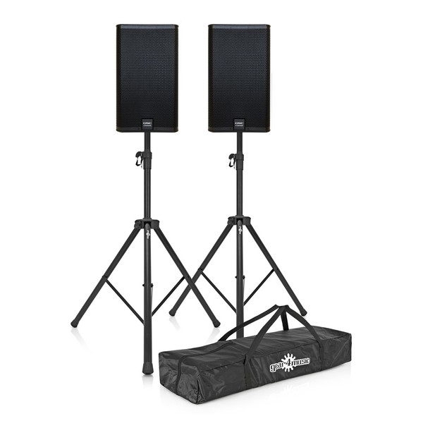 QSC E Series E112 12'' Passive PA Speakers, Pair with Stands, Complete Bundle