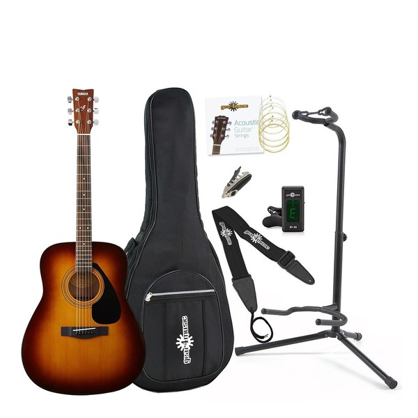 Yamaha F310 Acoustic Guitar Sunburst with Gear4music Accessory Pack - Full Pack View