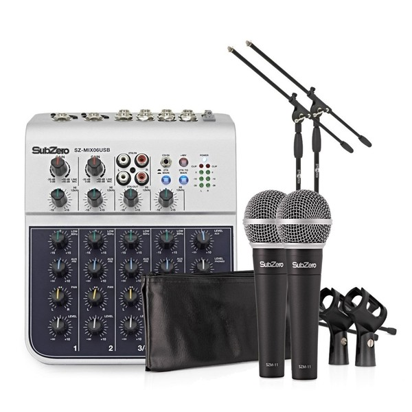 SubZero 6 Channel Mini Mixer and Microphones Bundle by Gear4music