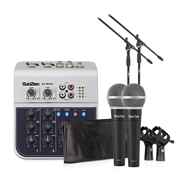 SubZero 4 Channel Mini Mixer and Microphones Bundle