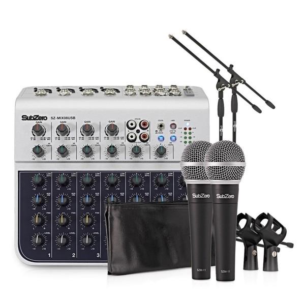 SubZero Channel Mini Mixer and Microphones Bundle