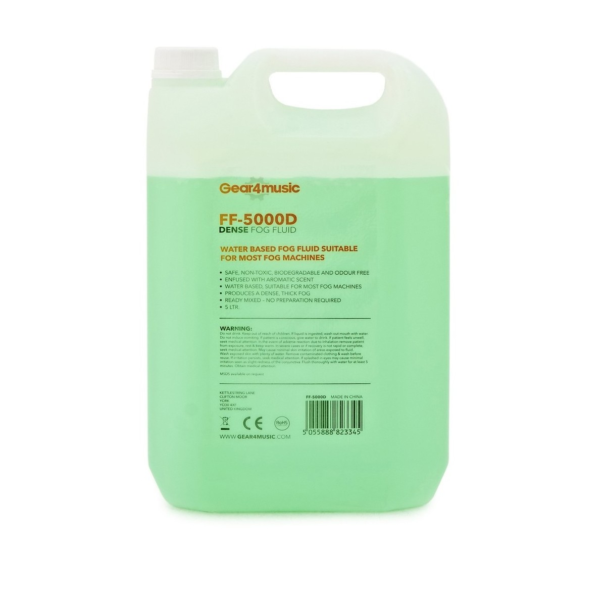 Click to view product details and reviews for Dense Fog Machine Fluid 5l By Gear4music.