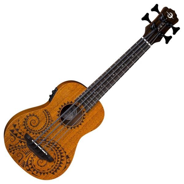 Luna Bari-Bass Tattoo Electro Ukulele, Satin Natural Mahogany