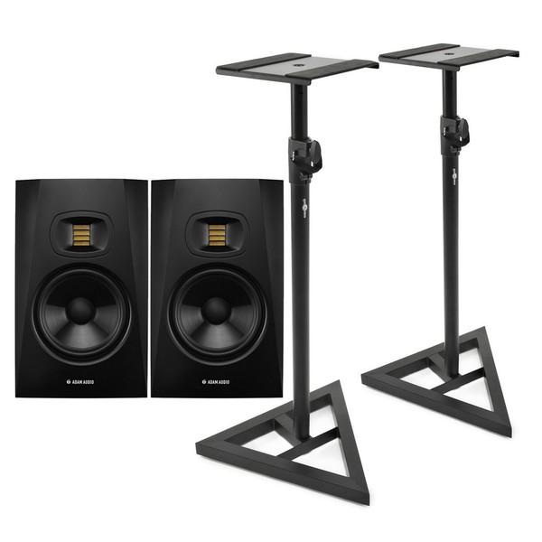 Adam Audio T7V Studio Monitors with Stands - Bundle
