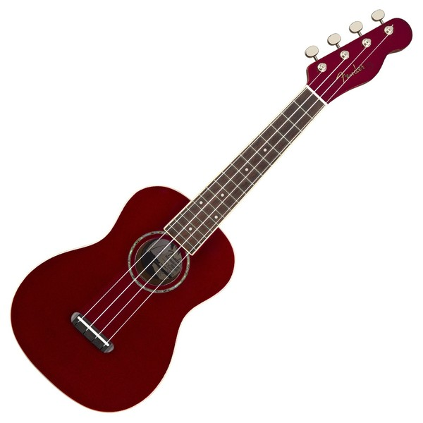 Fender Zuma Classic Concert Ukulele WN, Candy Apple Red Front View