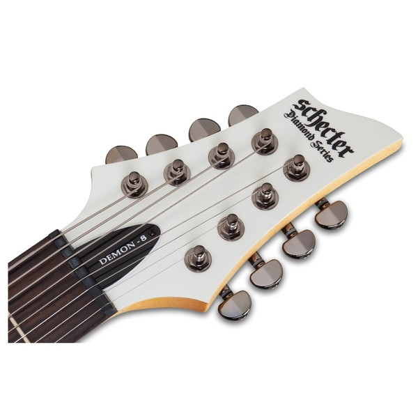 Schecter Demon-8 8 String, Vintage White Headstock