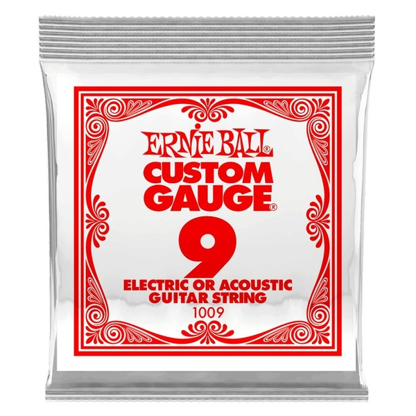 Ernie Ball Single .009 Plain Steel String - Pack View