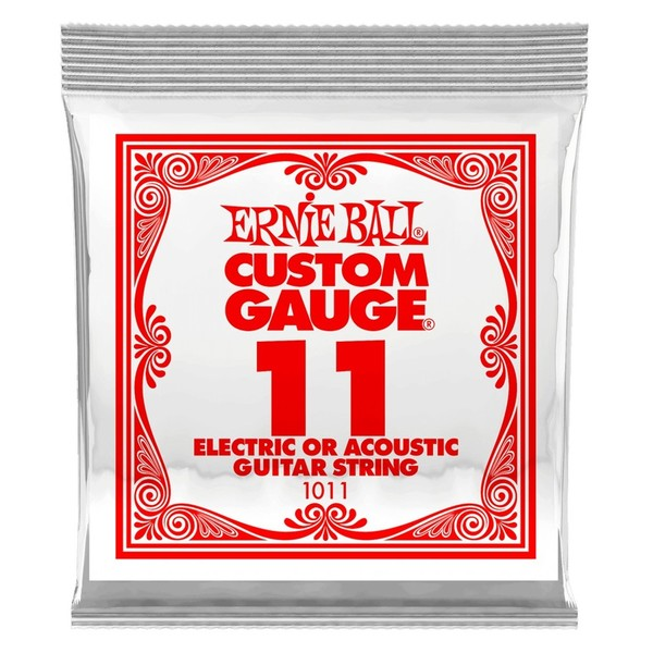 Ernie Ball Single .011 Plain Steel String - Front of Pack View